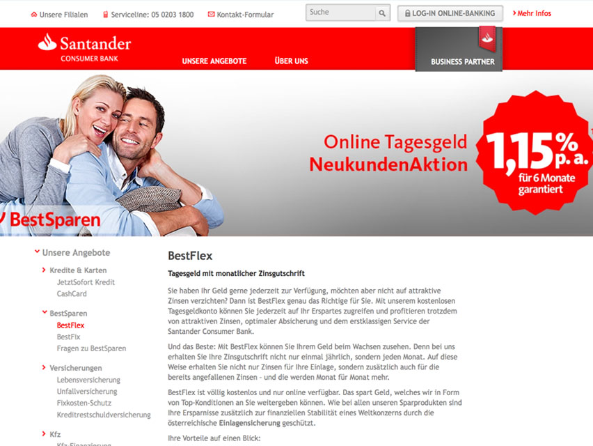 Tagesgeld Angebot der Santander Bank